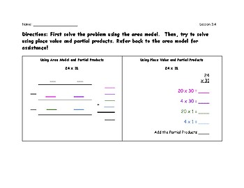 Multiplying Using Area Model and Place Value and Partial Products