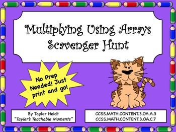 Multiplying Using Arrays Scavenger Hunt Activity