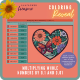 Multiplying Whole Number by 0.1 & 0.01 - Floral Heart Color Reveal