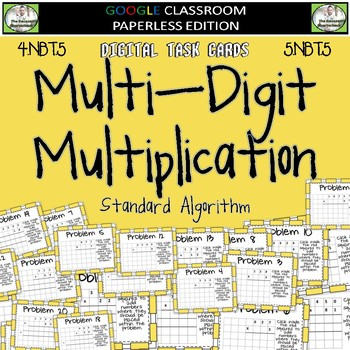 Multiplying Whole Numbers DIGITAL TASK CARDS Google Classroom