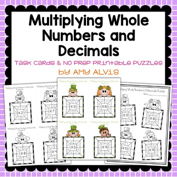 Multiplying Whole Numbers & Decimals Task Cards & NO PREP Printable Puzzles