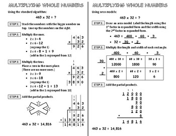 Multiplying Whole Numbers Interactive Notebook Page