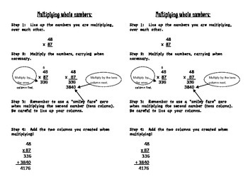 Multiplying Whole Numbers Math Journal Notes