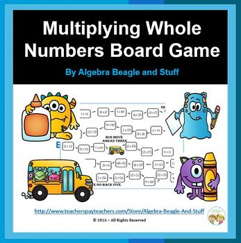 Multiplying Whole Numbers Board Game with Flash Cards