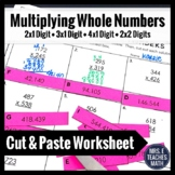Multiplying Whole Numbers Cut and Paste Worksheet 4.NBT.5