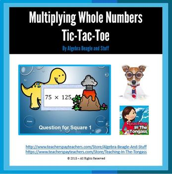 Multiplying Whole Numbers Pre-Historic PowerPoint Tic-Tac-Toe Game