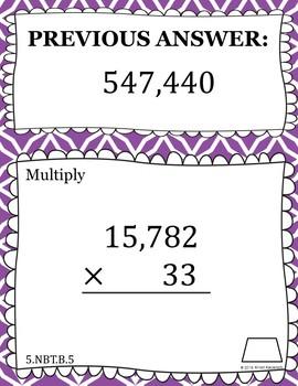 Multiplying Whole Numbers - Scavenger Hunt (5.NBT.B.5)