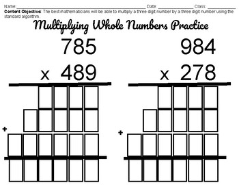 Multiplying Whole Numbers Standard Algorithm