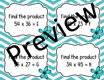 Multiplying Whole Numbers Task Cards
