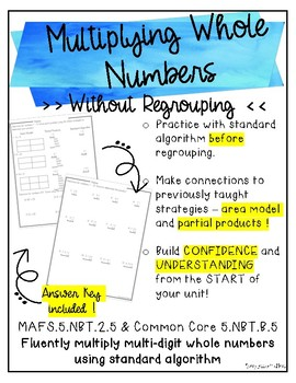 Multiplying Whole Numbers Without Regrouping {2 digit factors}