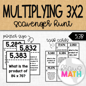 Multiply Whole Numbers: Word Problems SCAVENGER HUNT TASK CARDS! (GRADES 4 & 5)
