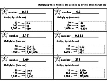 Multiplying Whole Numbers and Decimals by a Power of Ten