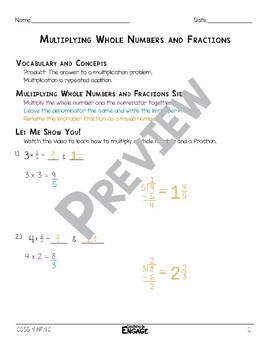 Multiplying Whole Numbers and Fractions Math Video and Worksheet