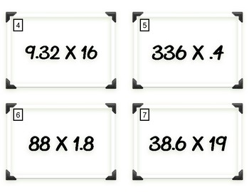 Multiplying Whole Numbers by Decimals Task Cards