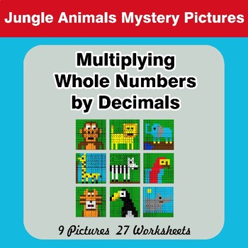 Multiplying Whole Numbers by Decimals - Math Mystery Pictures - Jungle Animals