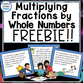 Multiplying Fractions by Whole Numbers Word Problem Task Cards