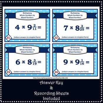 Multiplying Whole Numbers by Mixed Numbers Task Cards