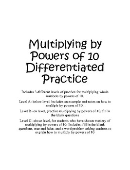 Multiplying Whole Numbers by Powers of 10 Differentiated Practice
