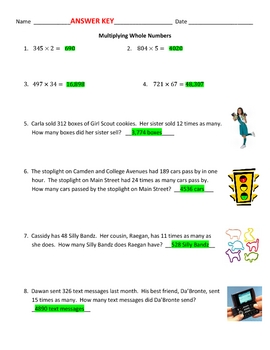 Multiplying Whole Numbers plus Word Problems