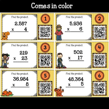Fall Math Multiplying Whole Numbers with QR Codes