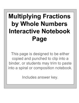 Multiplying With Fractions & Whole Numbers Interactive Notebook Page