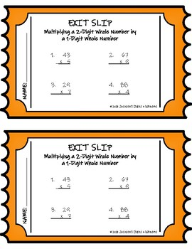 Multiplying a 2-Digit Whole Number by a 1-Digit Whole Number Exit Slip