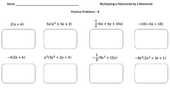 Multiplying a Polynomial by a Monomial - (Practice Problems - 3 Levels!)