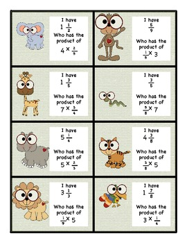 Multiplying a Whole Number Times a Fraction I Have Who Has