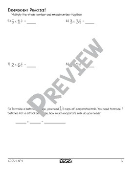 Multiplying a Whole Number and a Mixed Number Math Video and Worksheet