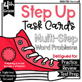 Multiplying a Whole Number by A Fraction Multi-Step Word Problems Task Cards