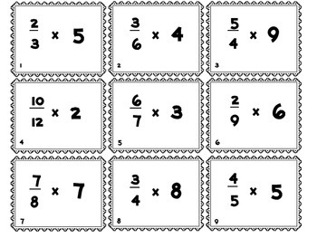 Multiplying a Whole Number by a Fraction {54 CCSS Task Cards}