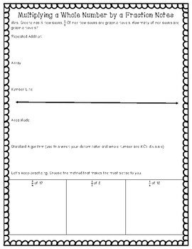 Multiplying a Whole Number by a Fraction Note Sheet *Math TEK 5.3I STAAR aligned
