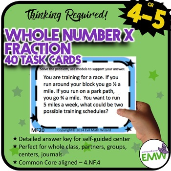 Multiplying Fractions Task Cards - Multiply a Whole Number by a Fraction