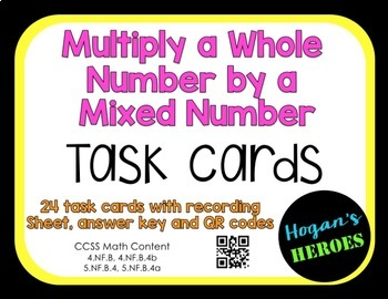 Multiplying a Whole Number by a Mixed Number QR Task Cards