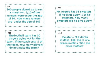 Multiplying a whole number by a unit fraction word problem task cards