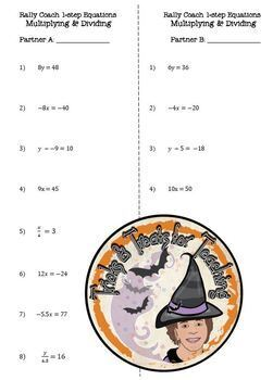 Multiplying and Dividing 1 Step Equations Rally Coach Partners and Answer Key