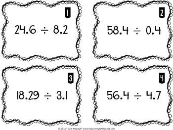 Multiplying and Dividing Decimal Task Cards (CCSS 5.NBT.B.7)