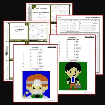 Multiply and Divide Decimals Activity Task Cards and Worksheets Bundle