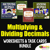 Multiply and Divide Decimals Activity Task Cards and Worksheets Bundle
