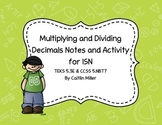Multiplying and Dividing Decimals Activities and Notes for Journals