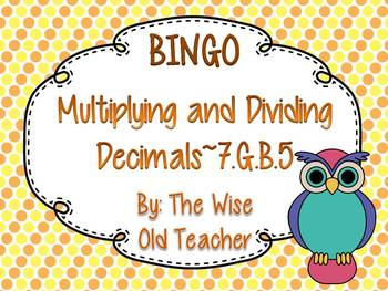Multiplying and Dividing Decimals Bingo PowerPoint with Bl
