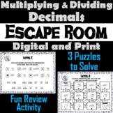 Multiplying and Dividing Decimals: Escape Room Math