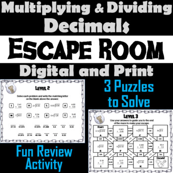 Multiplying and Dividing Decimals Escape Room Math