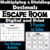 Multiplying and Dividing Decimals Escape Room Math