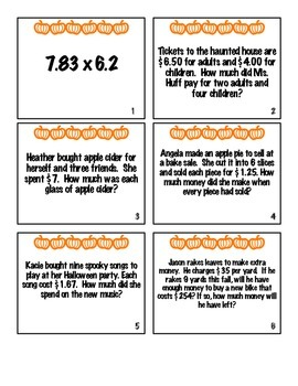 Multiplying and Dividing Decimals Fall Task Cards