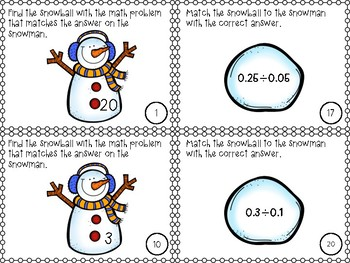 Multiplying and Dividing Decimals Matching