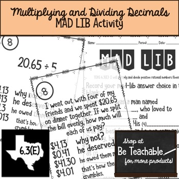 Multiplying and Dividing Decimals Mad Lib Activity (6.3E)