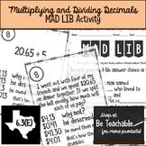 Multiplying and Dividing Decimals Mad Lib Activity (6.3E)