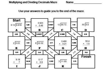 Multiplying and Dividing Decimals: Math Maze