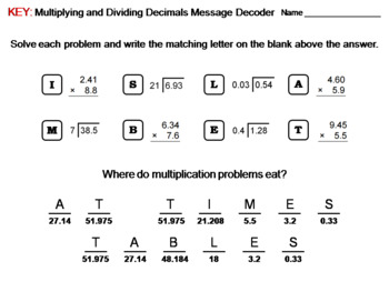 Multiplying and Dividing Decimals: Math Message Decoder